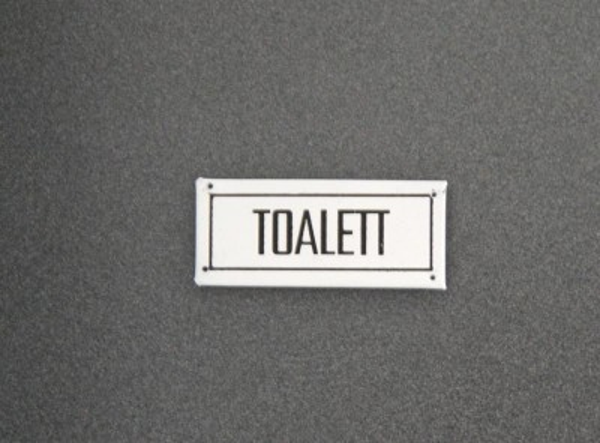 Berömda TOALETT vit emalj skylt i gammeldags stil DA-51