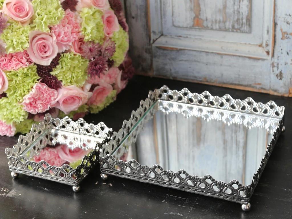 Fyrkantig spegelfat bricka med spets kant